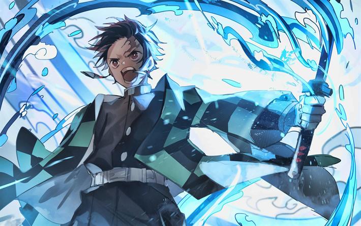 Download Wallpapers 4k Tanjirou Kamado Swords Manga