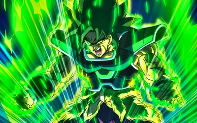 Anger Broly, green fire flames, Dragon Ball, DBS, Dragon Ball Super, Broly, DBS characters, Broly 4k