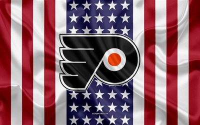philadelphia flyers, 4k, logo, emblem, seide textur, amerikanische flagge, amerikanische eishockey-club, nhl, philadelphia, pennsylvania, usa, national hockey league, eishockey, seide flagge