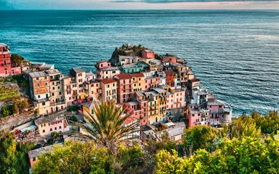 Manarola, 4k, summer travel, cityscapes, HDR, Italy, Europe, italian cities