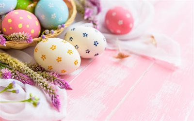 Easter eggs, pink background, spring, easter, decoration, easter background