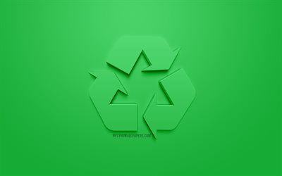 Recycling, 3d icon, green background, ecology concepts, Recycling concepts, 3d art, environment