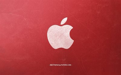 Apple, White chalk logo, creative art, red retro background, retro style, emblem, Apple logo