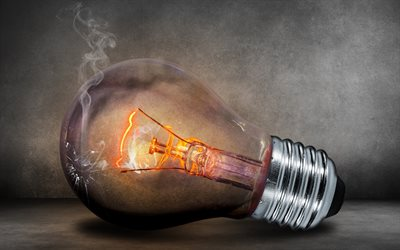 cracked light bulb, 4k, idea concepts, broken light bulb, smoke, creative, 3D art, light bulb