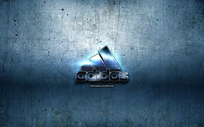 Adidas logo, blue metal background, creative, Adidas, brands, Adidas 3D logo, artwork, Adidas metal logo