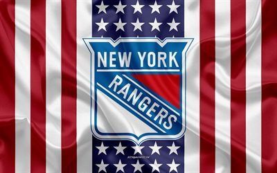 new york rangers, 4k, logo, emblem, seide textur, amerikanische flagge, amerikanische eishockey-club, nhl, new york, usa, national hockey league, eishockey, seide flagge
