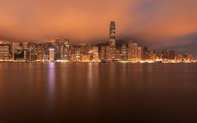 Hong Kong, night, skyscrapers, bay, modern architecture, modern buildings, skyline, China