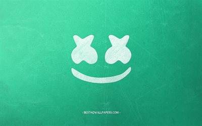 Marshmello, logo, turquoise retro background, creative art, american dj, emblem, Christopher Comstock