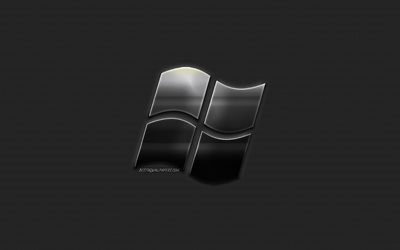 Windows, metall-logotyp, emblem, kreativ konst, metall konst, Windows emblem