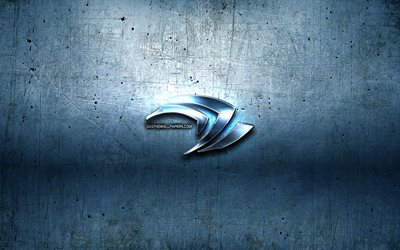 Nvidia logo, blue metal background, creative, Nvidia, brands, Nvidia 3D logo, artwork, Nvidia metal logo