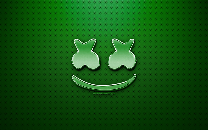 Marshmello logo, fan art, american DJ, chrome logo, Christopher Comstock, Marshmello, green metal background, DJ Marshmello, DJs, Marshmello chrome logo