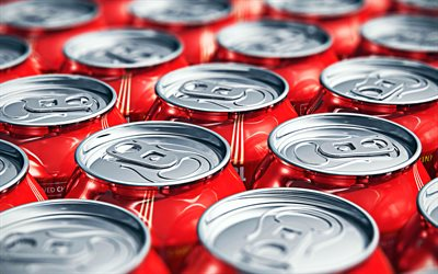 Coca Cola, soft drinks, cans of Coca Cola, red cans, macro, Coca Cola in cans, close-up, cans textures