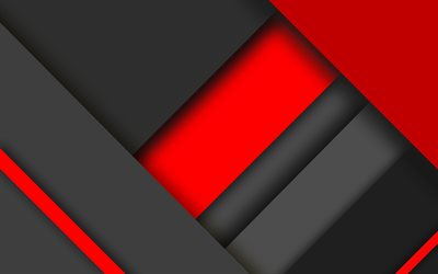4k, material design, red and black, colorful lines, geometric shapes, lollipop, triangles, creative, strips, geometry, dark background