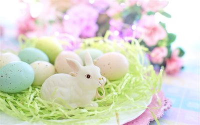 Easter, white rabbit, decoration, Easter eggs, painted eggs, spring flowers