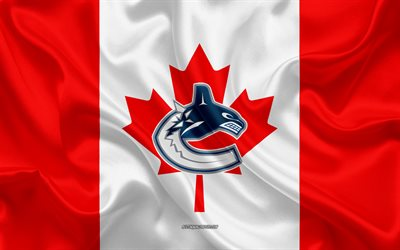Les Canucks de Vancouver, 4k, logo, emblème, soie, texture, drapeau Canadien, Canadian club de hockey, NHL, Vancouver, British Columbia, Canada, etats-unis, la Ligue Nationale de Hockey, le Hockey, le drapeau de soie