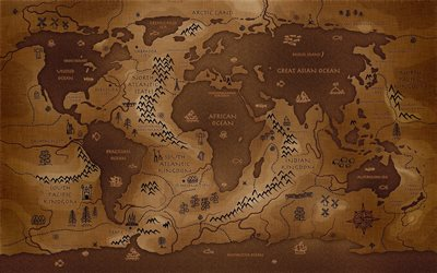creative world map, world map concept, artwork, creative, brown world map, 3D art, world maps