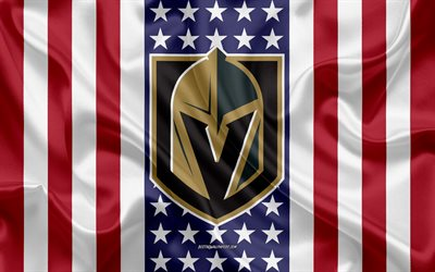 vegas golden knights, 4k, logo, emblem, seide textur, amerikanische flagge, amerikanische eishockey-club, nhl, paradise, nevada, usa, national hockey league, eishockey, seide flagge