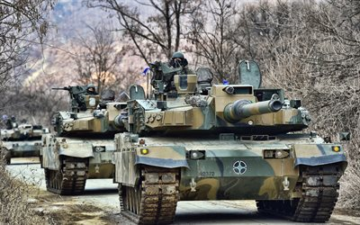 K2, 4k, Black Panther, tanks, Korean MBT, Korean Army, green camouflage, armored vehicles, K2 Black Panther