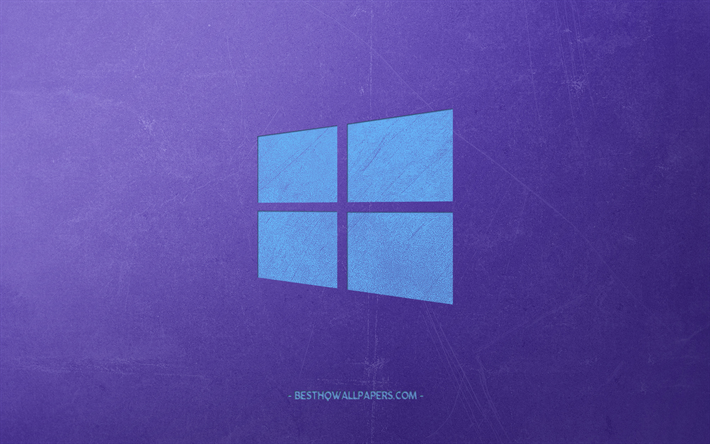 Windows 10, creative blue logo, purple background, retro style, art, Windows, logo