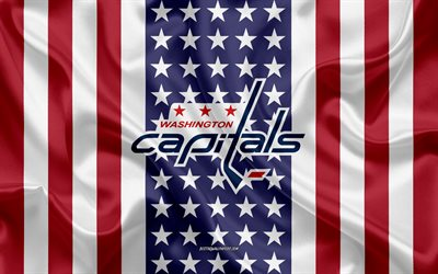 washington capitals, 4k, logo, emblem, seide textur, amerikanische flagge, amerikanische eishockey-club, nhl, washington, usa, national hockey league, eishockey, seide flagge