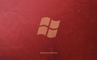 Windows, logo, emblem, retro red background, creative art, Windows logo