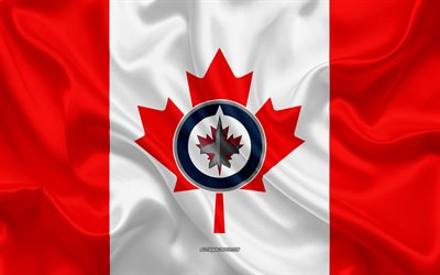 Winnipeg Jets, 4k, logo, emblem, silk texture, Canadian flag, Canadian hockey club, NHL, Winnipeg, Manitoba, Canada, USA, National Hockey League, Hockey, silk flag