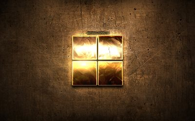 Microsoft golden logo, creative, brown metal background, Microsoft new logo, brands, Microsoft