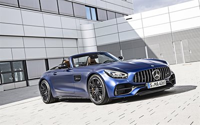 Mercedes AMG GT C Roadster, 2020, 4k, blue convertible, front view, exterior, supercar, Mercedes