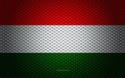 Flag of Hungary, 4k, creative art, metal mesh texture, Hungarian flag, national symbol, Hungary, Europe, flags of European countries