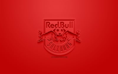 FC Red Bull Salzburg, creative 3D logo, red background, 3d emblem, Austrian football club, Austrian Football Bundesliga, Salzburg, Austria, 3d art, football, stylish 3d logo