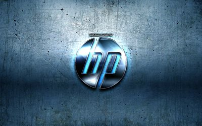 HP logo, blue metal background, Hewlett-Packard, creative, HP, brands, HP 3D logo, artwork, HP metal logo, Hewlett-Packard logo