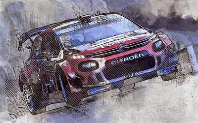 Sebastien Ogier, Citroen C3 WRC, French rally driver, Citroen Total WRT, grunge art, creative art, World Rally Championship, Citroen