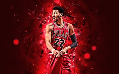 Otto Porter, abstract art, NBA, basketball, Chicago Bulls, Otto Porter Jr, neon lights, creative, USA