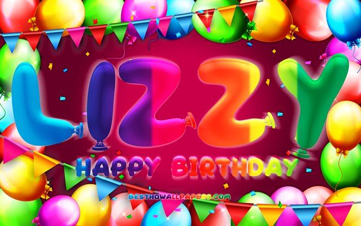 Feliz Cumple LizzyLT   - Página 2 Thumb2-happy-birthday-lizzy-4k-colorful-balloon-frame-lizzy-name-purple-background