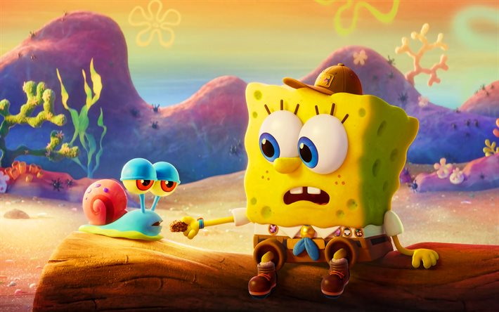 Gary, SpongeBob SquarePants, 4k, 2020 movie, The SpongeBob Movie Sponge on the Run, poster, SpongeBob