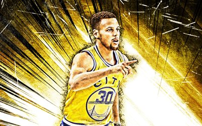 4k, Stephen Curry, grunge, arte, Golden State Warriors, giallo uniforme, stelle di basket, NBA, Steph Curry, basket, giallo astratto raggi, creativo, Stephen Curry 4K