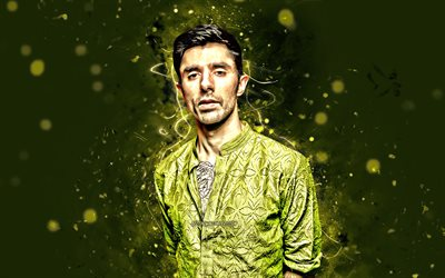 KSHMR, 4k, american DJs, music stars, Niles Hollowell-Dhar, american celebrity, fan art, green neon lights, KSHMR 4K