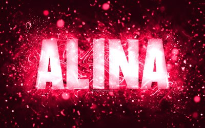 Happy Birthday Alina, 4k, pink neon lights, Alina name, creative, Alina Happy Birthday, Alina Birthday, popular american female names, picture with Alina name, Alina