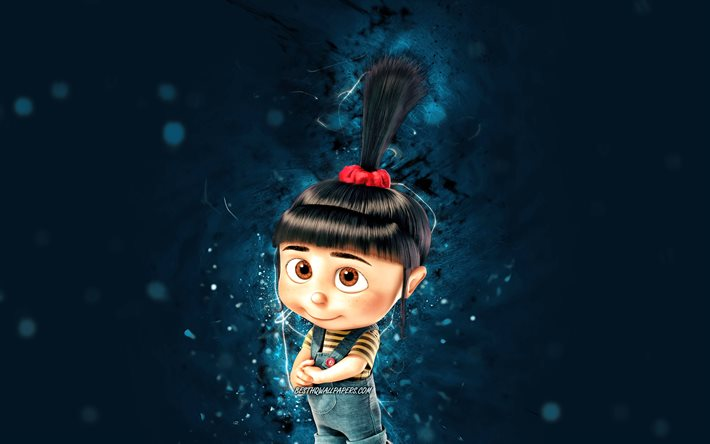 Agnes, 4k, blue neon lights, Minions The Rise of Gru, Despicable Me, Agnes Gru, Minions, Agnes Minions