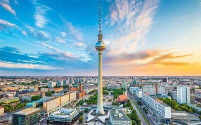 Berlin TV Tower, 4k, skyline cityscapes, german cities, capital, Berlin, cityscapes, summer, Germany, Europe, Cities of Germany, HDR