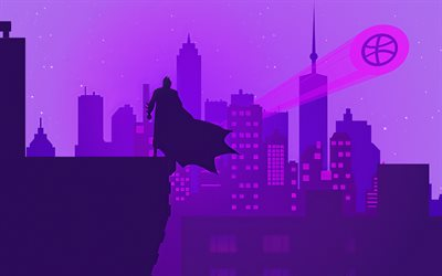 Batman silhouette, 4k, superheroes, minimal, abstract cityscapes, Bat-man, DC Comics, Batman minimalism, Batman