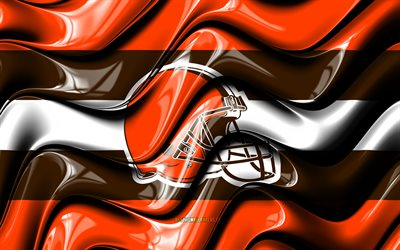 Cleveland Browns flag, 4k, orange and brown 3D waves, NFL, american football team, Cleveland Browns logo, american football, Cleveland Browns