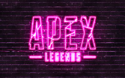 Emblema viola di Apex Legends, 4k, muro di mattoni viola, emblema di Apex Legends, marchi di giochi, emblema al neon di Apex Legends, Apex Legends