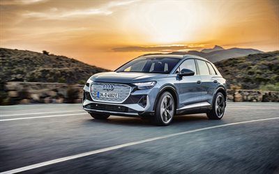 2022, Audi Q4 E-Tron, 4k, front view, exterior, new silver Q4 E-Tron, electric SUV, electric cars, german cars, Audi