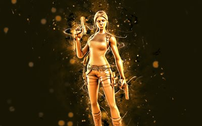 Gold Anniversary Variant Lara Croft, 4k, yellow neon lights, Fortnite Battle Royale, Fortnite characters, Gold Anniversary Variant Lara Croft Skin, Fortnite, Gold Anniversary Variant Lara Croft Fortnite