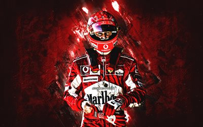 Michael Schumacher, Formula 1, Scuderia Ferrari, German driver, F1, red stone background, grunge art, Formula One