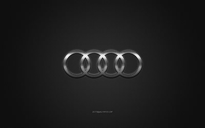 Audi logo, silver logo, gray carbon fiber background, Audi metal emblem, Audi, cars brands, creative art