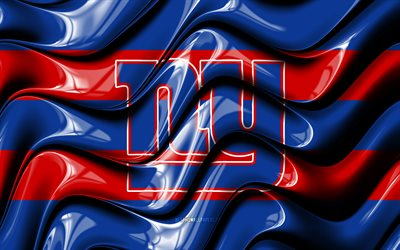 New York Giants flag, 4k, blue and red 3D waves, NFL, american football team, New York Giants logo, american football, New York Giants, NY Giants