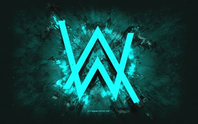 Alan Walker logo, grunge art, turquoise stone background, Alan Walker turquoise logo, Alan Walker, creative art, turquoise Alan Walker grunge logo