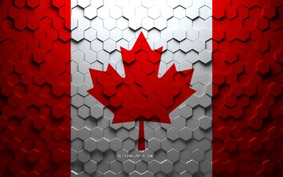 Flag of Canada, honeycomb art, Canada hexagons flag, Canada, 3d hexagons art, Canada flag